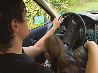 young amateur screwing into car