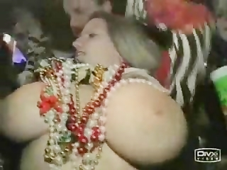 Busty Girl Flashing on Mardi Gras
