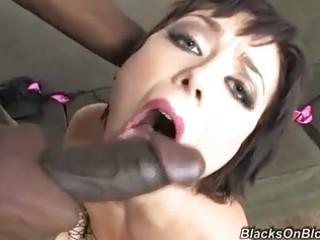 sluty brunette with ebony bodystocking doing pov