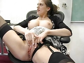 classy professor pleases into panties inside the