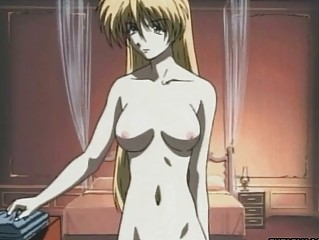 virgin blond hentai anime chick with bang into tub