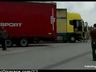 bound gagged chick exposed to truckers