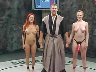 naked wrestling  loser takes strapon fucked!