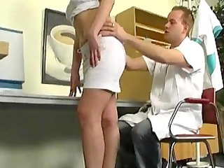 nurse makes her pussy juicy