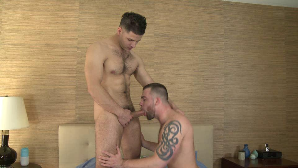 tattooed stid and muscled hunk giving every