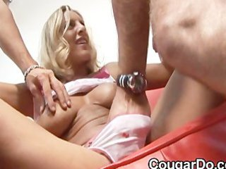 bonde lady gives a handjob and blowjob