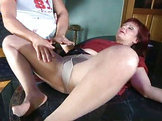 lewd milf with stockings tights plump under