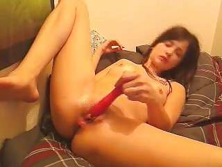 sweetie gangbangs herself with plastic cock
