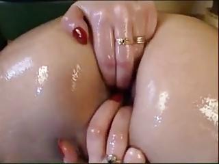 oiled, masturbation, fingering and big toy.