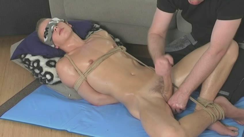tied up twink obtaining his libido stroked
