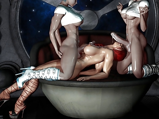 sweet 3d art - 2 shemale bang a chick (very hot)