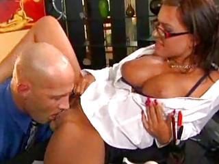 lady angel inside glasses takes her vagina tasted