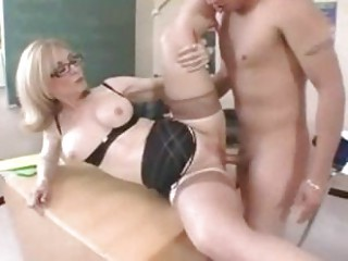 woman instructor inside glasses acquires a
