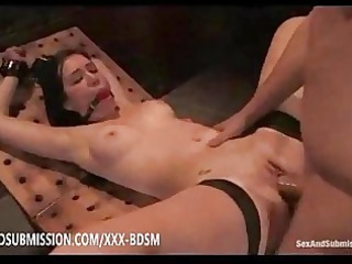 sexy bondage brunette babe gives gangbanging with