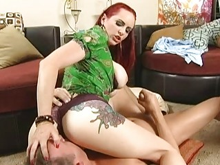 redhaired horny lady doing super  dick sucking to