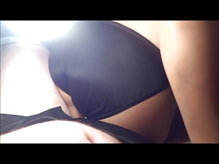shiny leggings and gstring with white cream
