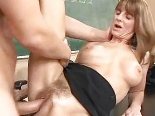 blonde cougar brunette takes her bushy cunt