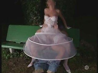 the bride into pantyhose al fresco