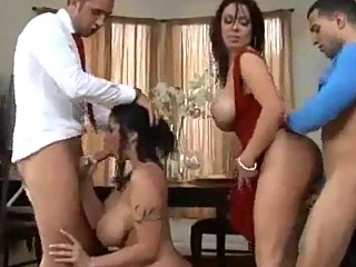 foursome pleasure with large titty brunette