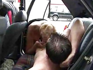 ancient chick banged inside car  european