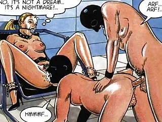 Scared Woman tied for pleasure bizarre sex orgy