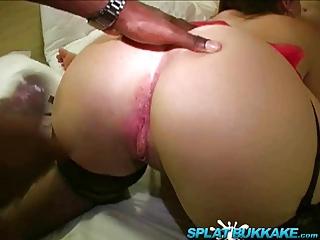 British BBW pornstar DaniX gets a covering in Jizz