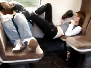 sister and fucker enjoy facefootsie into train