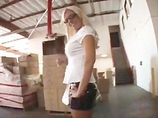 Blonde Glasses Whitney Fears Deepthroats two Dicks