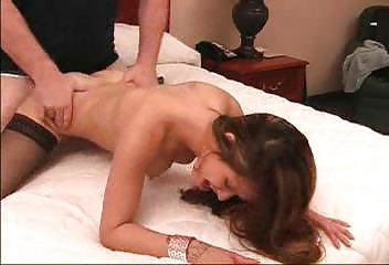 sweet brunette licks penis and copulates doggy