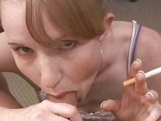 slim albino fresh smoking and licking penis on
