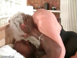 busty grandma worships driving a large black