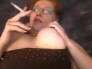 chubby lady smoking porn