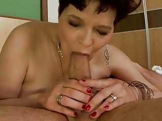 slutty elderly does cock sucking and takes