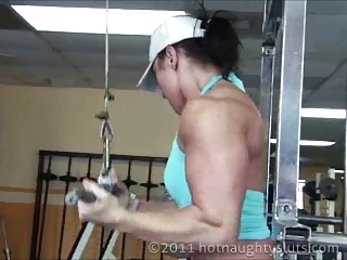 muscle chick workout and bathroom