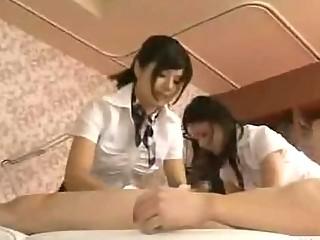 japanese estheticians rub stockings across