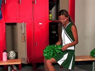 tanned young inside cheerleader uniform plays