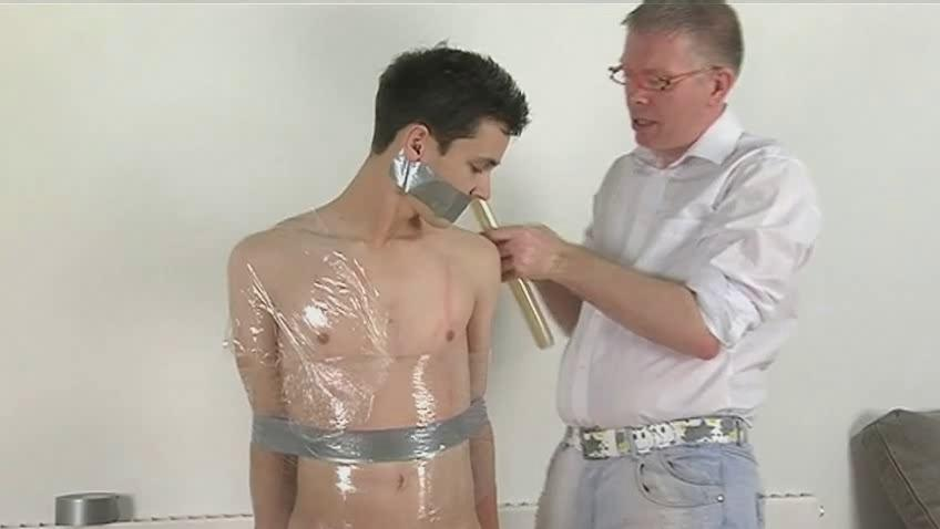 lean black haired gay acquires tied and wrapped