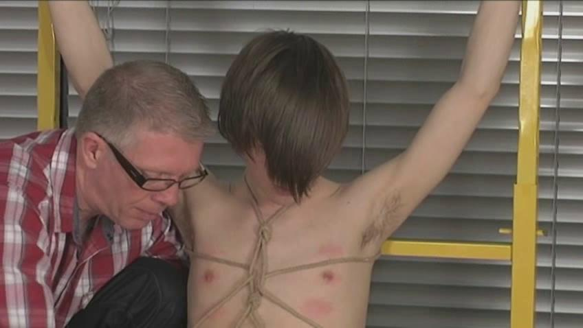 fresh gay male with emo haircut takes tied and