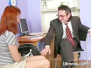 Teen student sucks dick old teacher