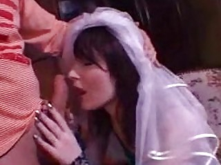 brunette sweetie with bride veil gives meaty