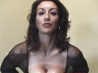 horny brunette mature into fishnet figure  nylons