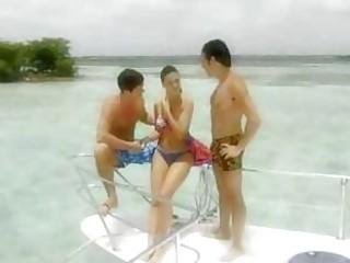 extremely impressive brunette enjoys porn on ship