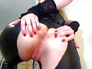 latex slut with vibrator