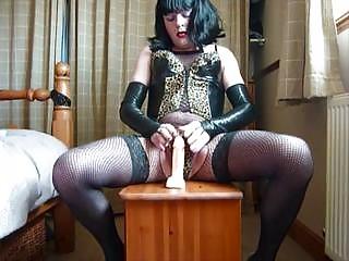 fresh crossdresser pleasing with vibrator
